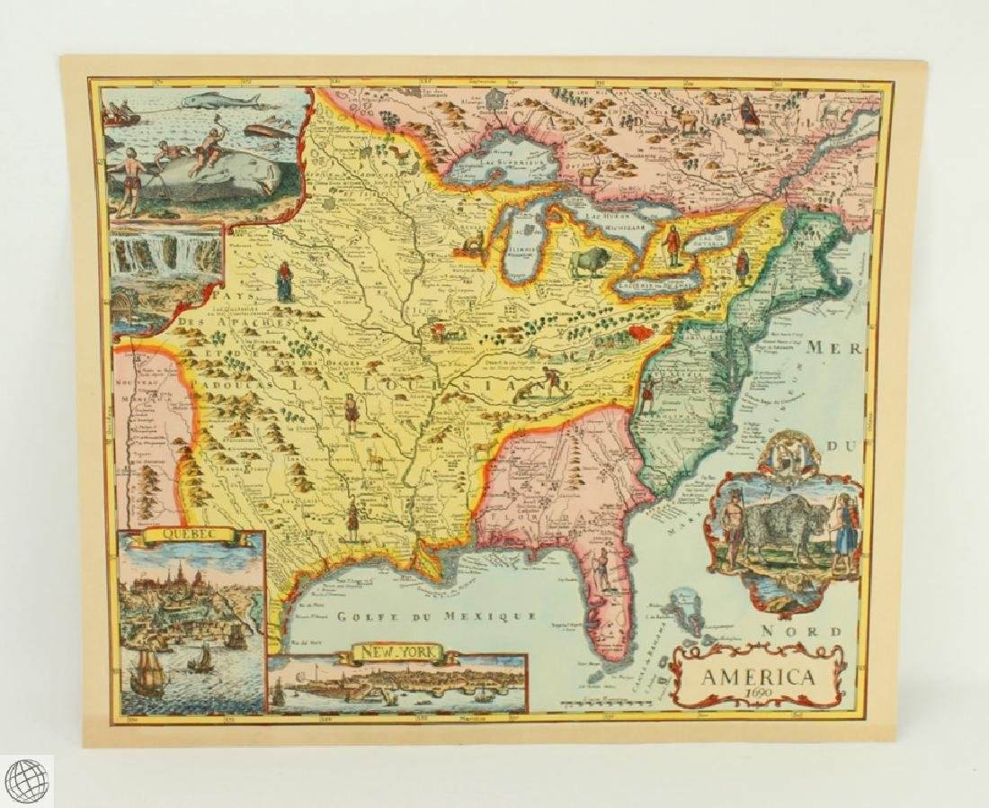 America 1690 UNKNOWN 20thC Print Hand Colored Laid