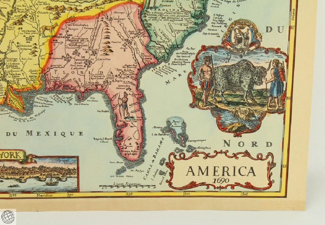 America 1690 UNKNOWN 20thC Print Hand Colored Laid - 4