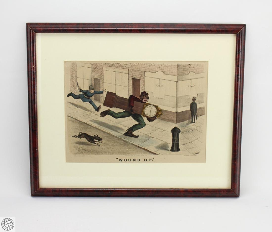 Framed Antique CURRIER AND IVES HAND COLORED LITHOGRAPH