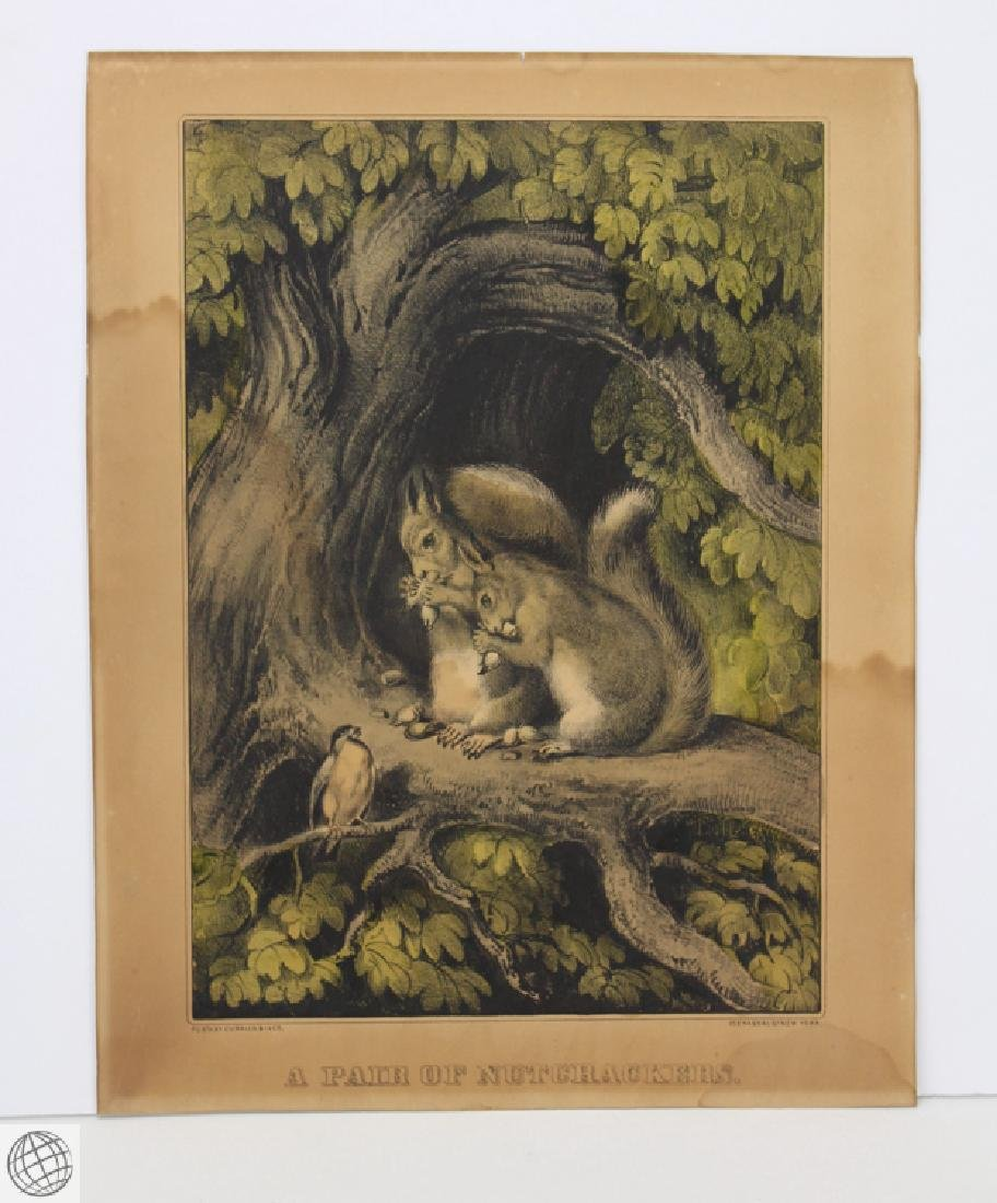 Original CURRIER AND IVES HAND COLORED LITHOGRAPH A