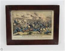 Framed ORIGINAL HAND COLORED SMALL FOLIO CURRIER AND