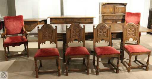 10Pcs. Vintage Jamestown Lounge Company FEUDAL OAK
