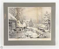 C1861 ORIGINAL CURRIER AND IVES STONE LITHOGRAPH Winter