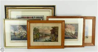 5Pcs C1841-1868 FRAMED HAND-COLORED CURRIER AND IVES