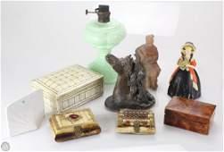 9Pcs Antique & Vintage ART OIL LAMP AND DECORATIVE