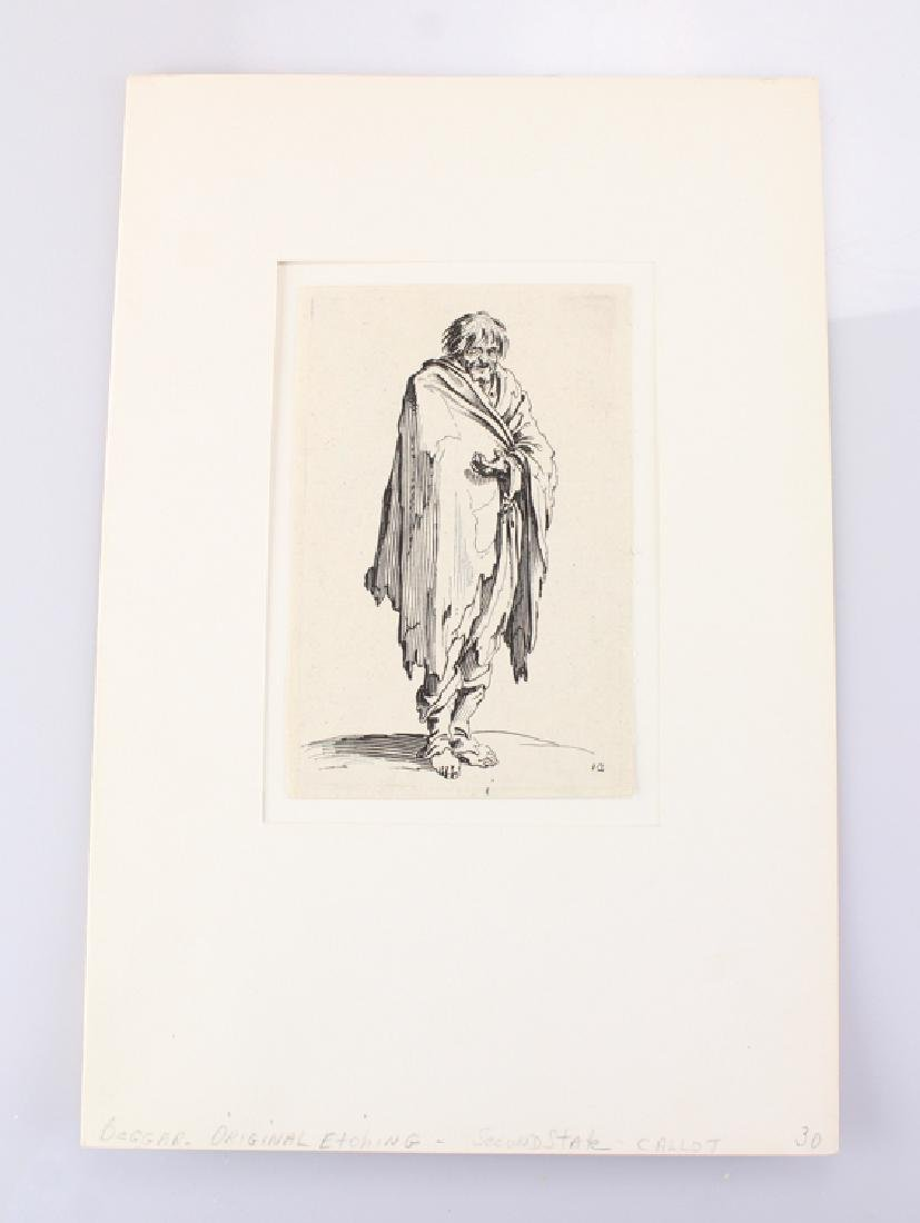 Beggar JACQUES CALLOT Etching Antique Second State