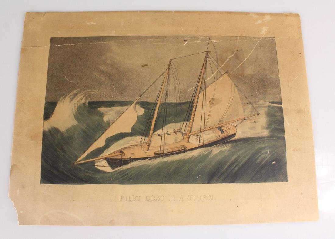 Original Hand Colored Lithograph CURRIER & IVES Pilot