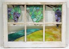 Vintage Slag Opalescent STAINED GLASS WINDOW Landscape