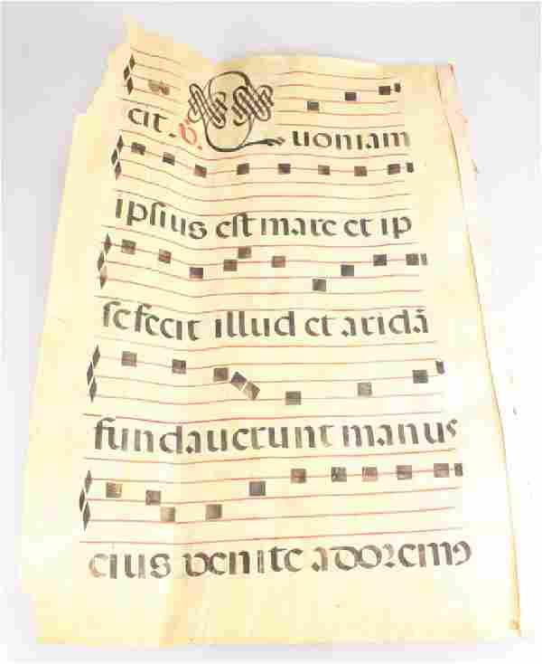 Monastic Antiphonal Music VELLUM GREGORIAN MUSIC SCORE