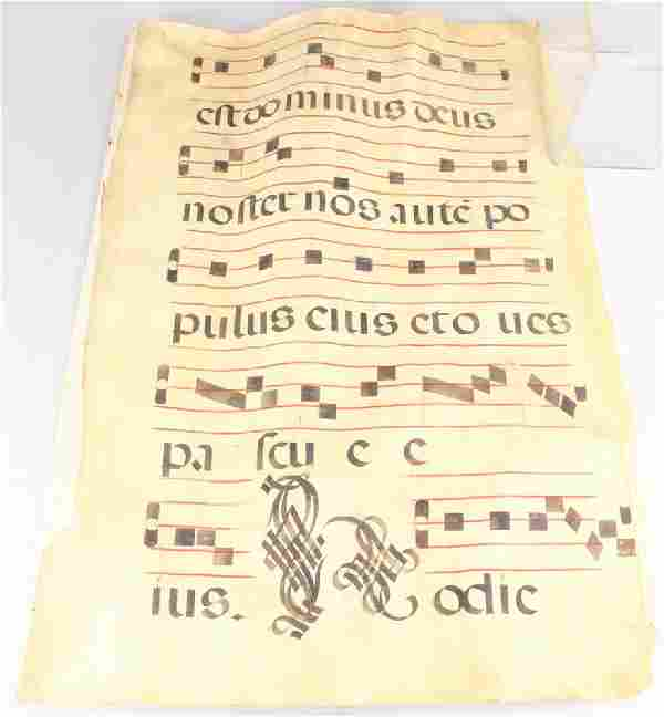Illuminated Manuscript Page VELLUM GREGORIAN MUSIC