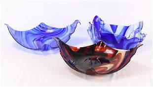 3Pcs Handmade ART GLASS SERVING PIECES Marbled
