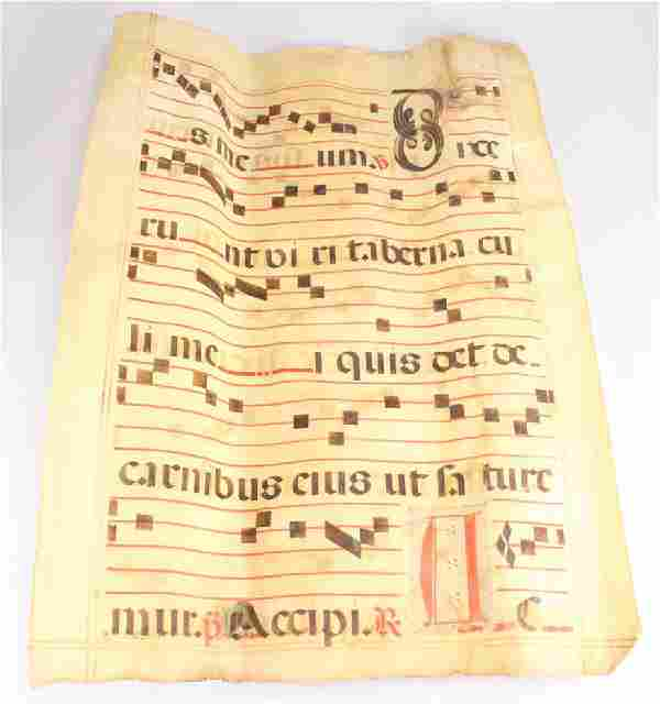 Handmade Antiphonal Chart VELLUM GREGORIAN MUSIC SCORE