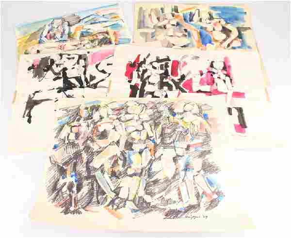 5pcs Abstract Expressionist Art SALVATORE GRIPPI