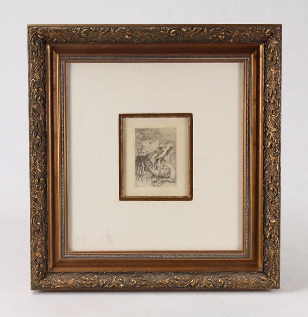 Framed Renoir Etching LE CHAPEAU EPINGLE PINNING THE