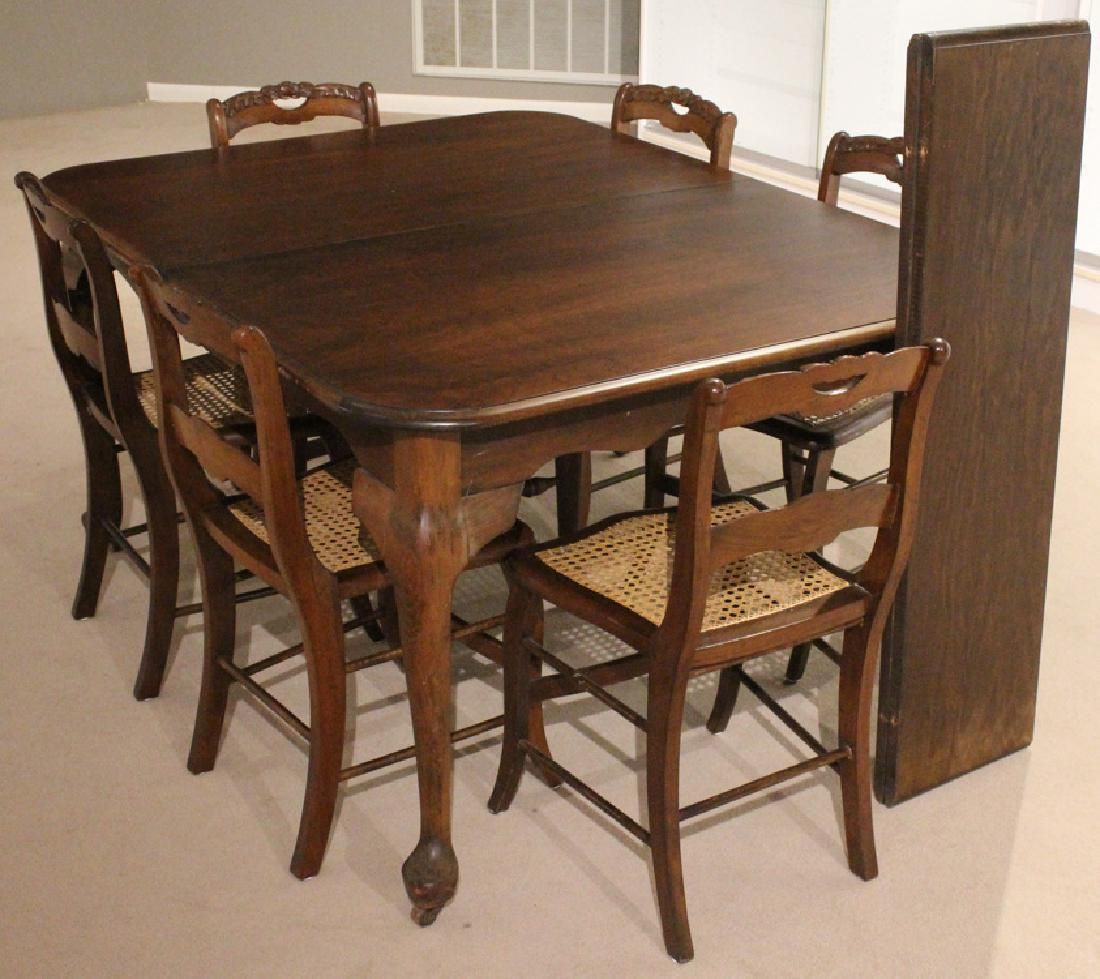 9Pcs Antique TABLE CHAIRS DINING ROOM SET CANE SEATS
