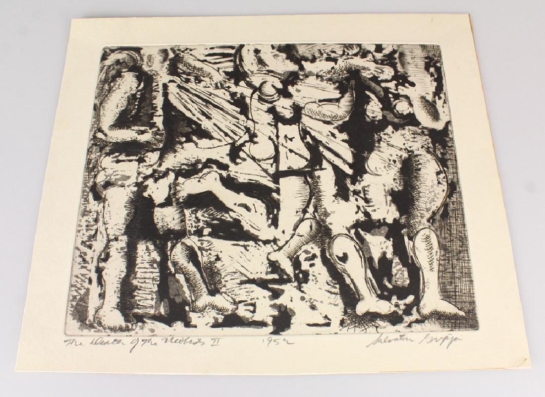 Artist Signed SALVATORE GRIPPI INTAGLIO ETCHING 1952