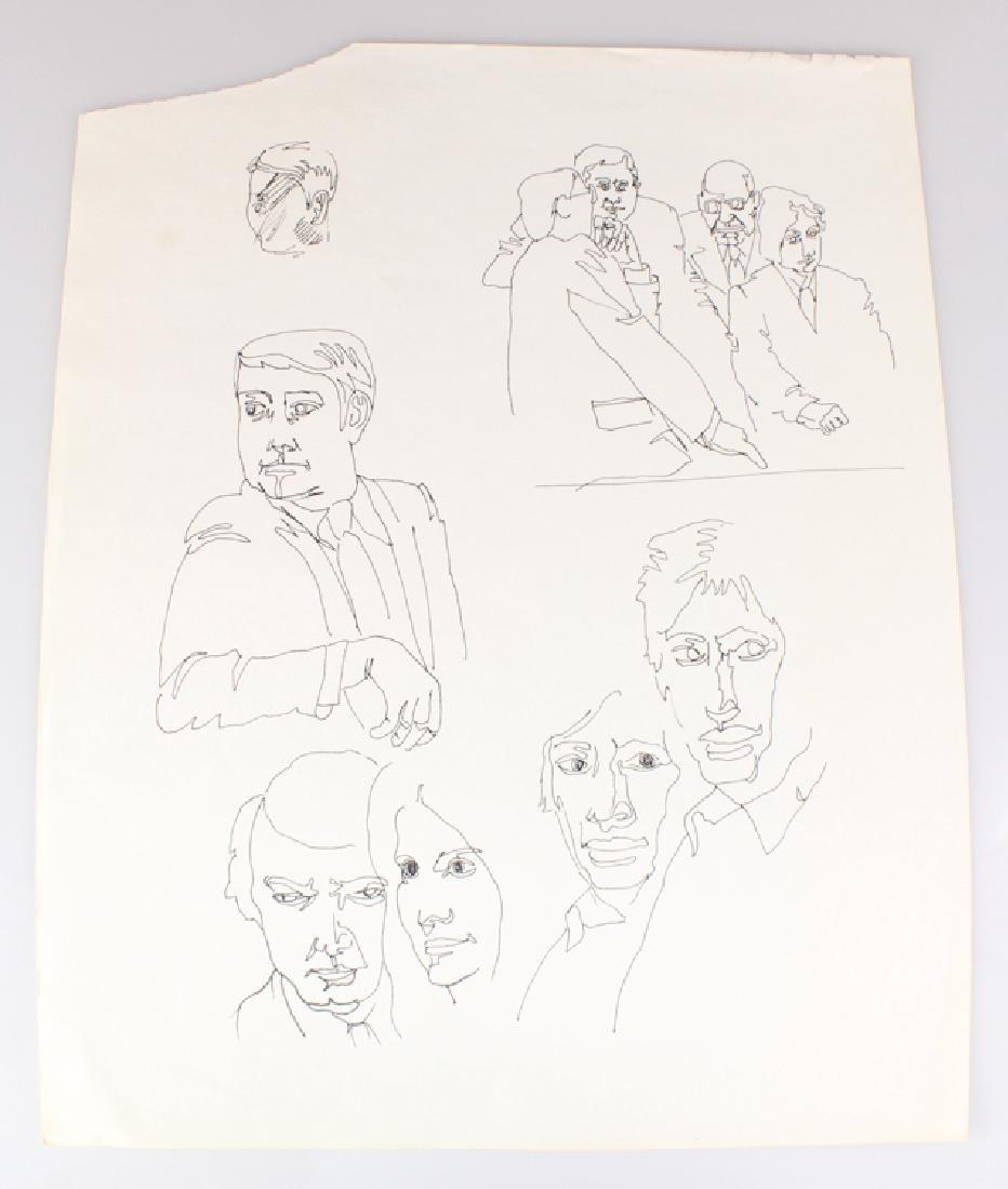 7pcs Landscape Portrait SALVATORE GRIPPI INK STUDIES - 5