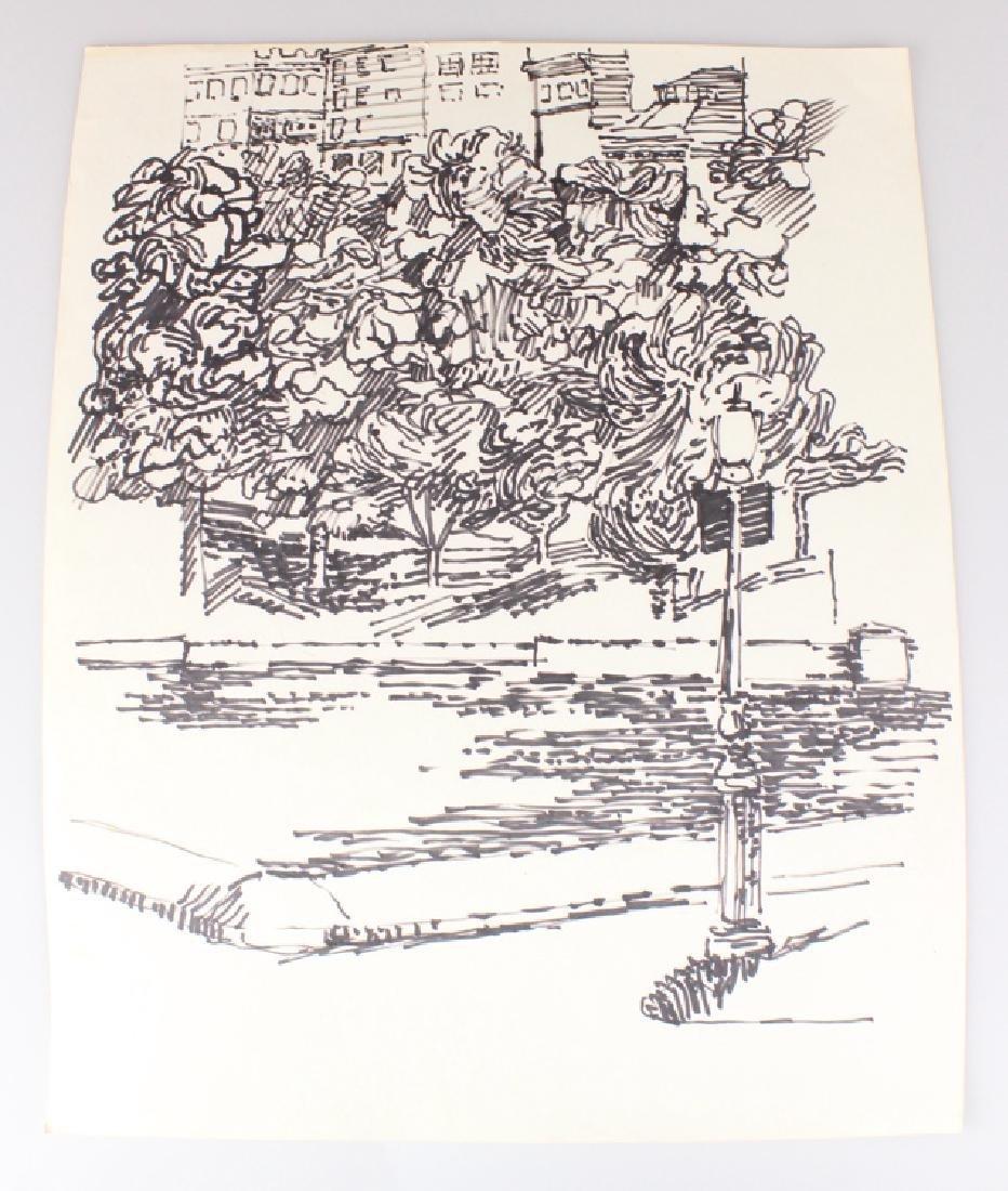 7pcs Landscape Portrait SALVATORE GRIPPI INK STUDIES - 6