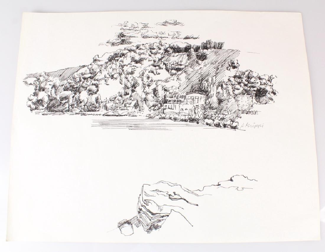 7pcs Landscape Portrait SALVATORE GRIPPI INK STUDIES - 7
