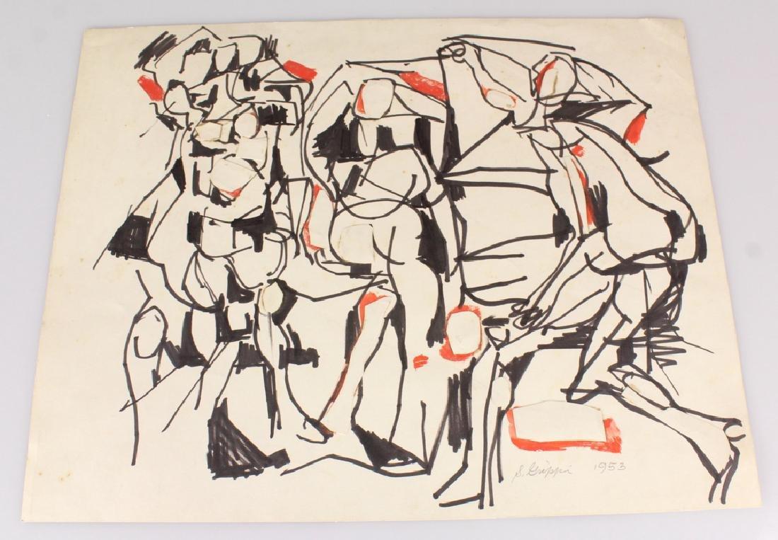 7pcs Landscape Portrait SALVATORE GRIPPI INK STUDIES - 9