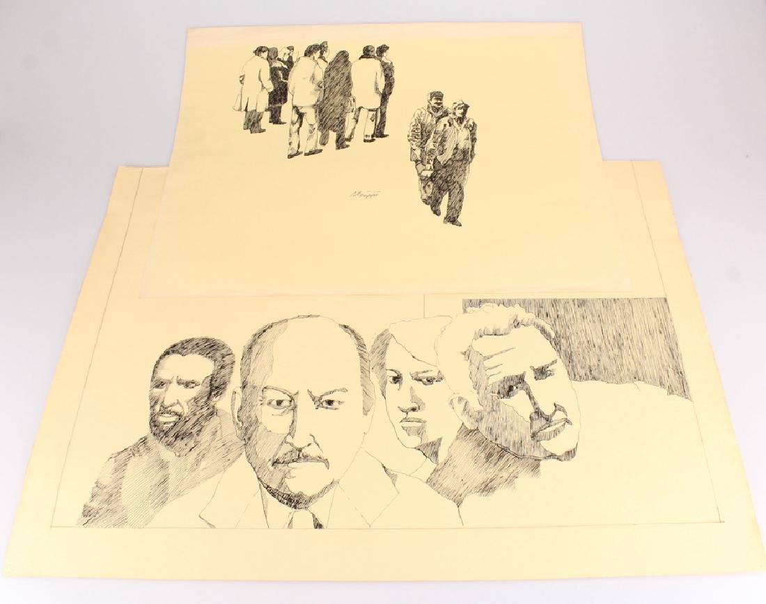 Faces People SALVATORE GRIPPI PEN & INK STUDIES IN
