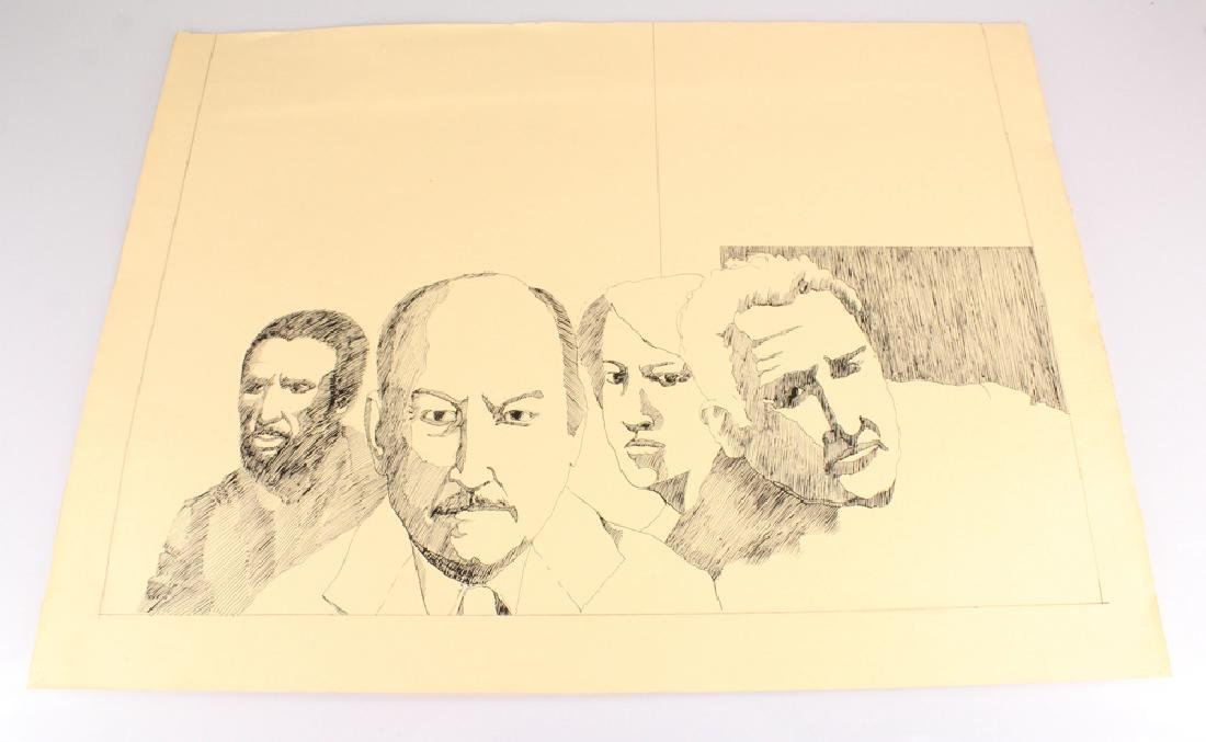 Faces People SALVATORE GRIPPI PEN & INK STUDIES IN - 6