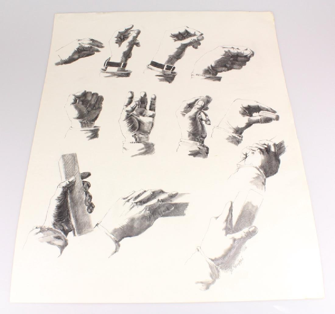 Artist Signed SALVATORE GRIPPI STUDY OF HANDS IN PENCIL