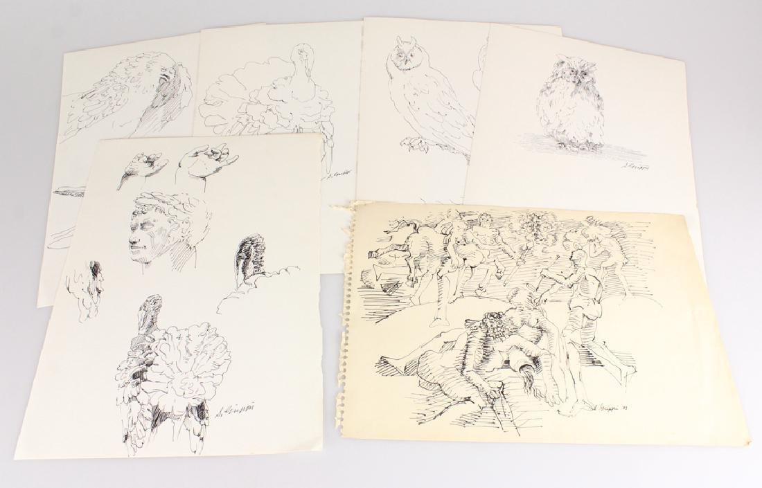 6pcs Artist Signed SALVATORE GRIPPI INK STUDIES