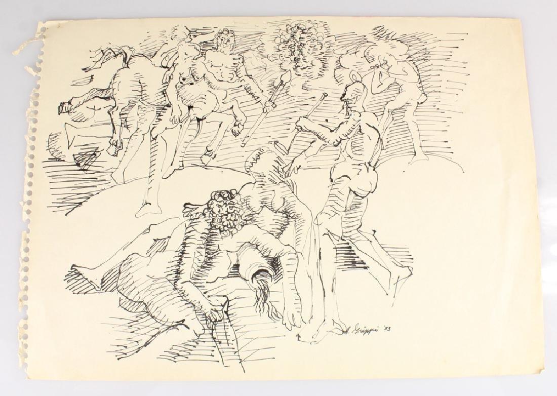 6pcs Artist Signed SALVATORE GRIPPI INK STUDIES - 3