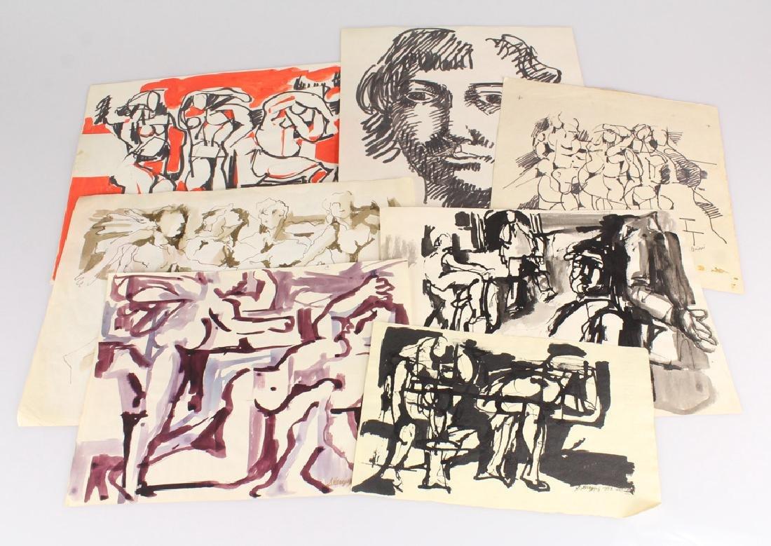 7pcs New York School SALVATORE GRIPPI STUDIES IN INK