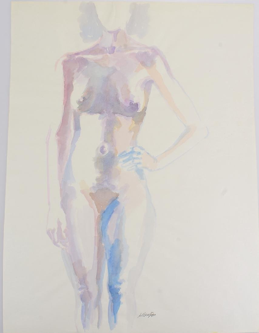 Artist Signed Nude SALVATORE GRIPPI WATERCOLOR Vintage