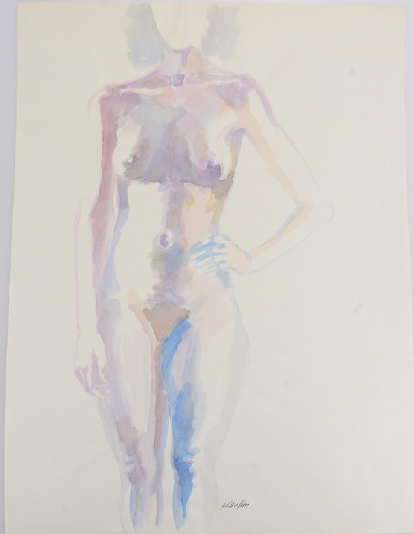 Artist Signed Nude SALVATORE GRIPPI WATERCOLOR Vintage
