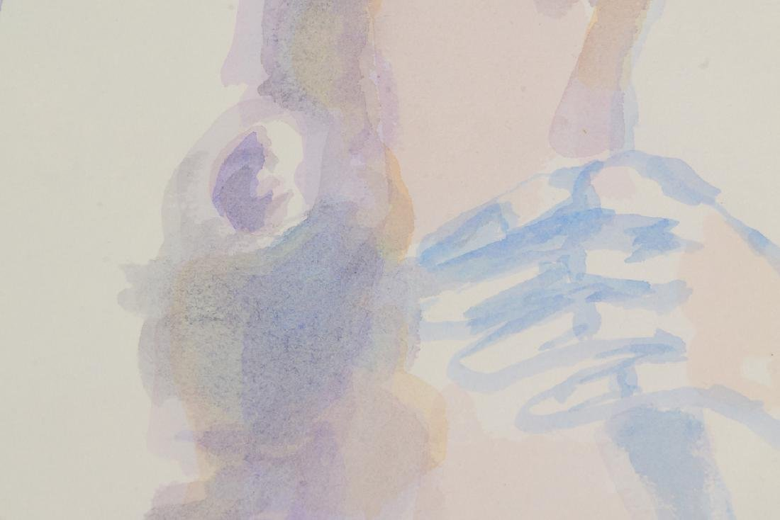 Artist Signed Nude SALVATORE GRIPPI WATERCOLOR Vintage - 3