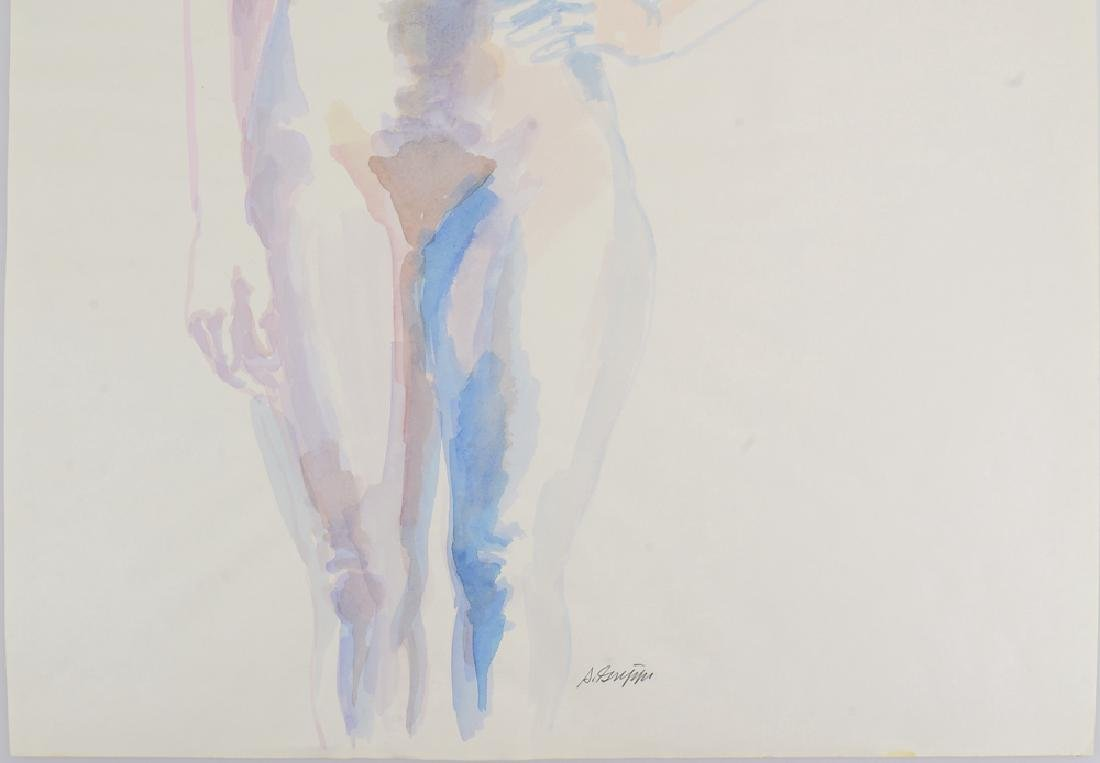 Artist Signed Nude SALVATORE GRIPPI WATERCOLOR Vintage - 5