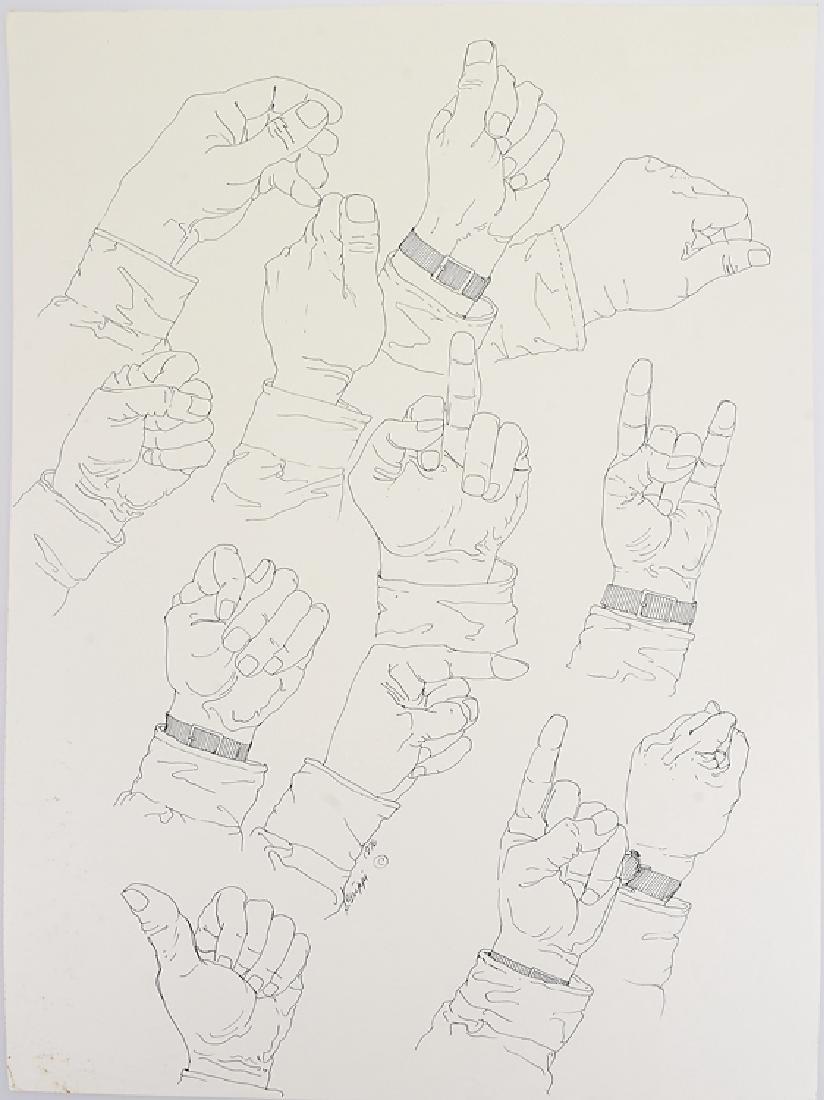 Signed SALVATORE GRIPPI INK STUDY OF HANDS 1976 New