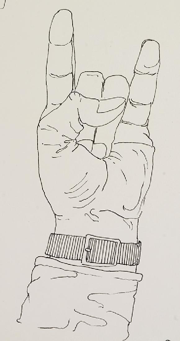 Signed SALVATORE GRIPPI INK STUDY OF HANDS 1976 New - 3