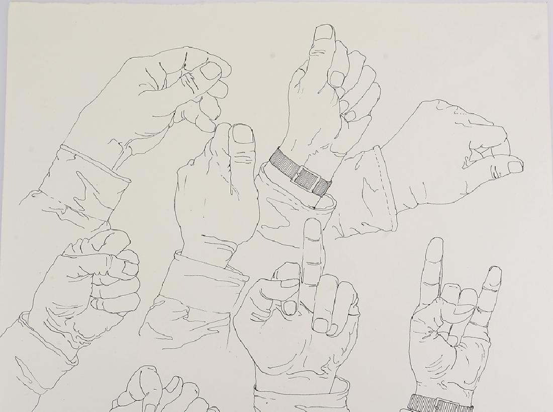Signed SALVATORE GRIPPI INK STUDY OF HANDS 1976 New - 4