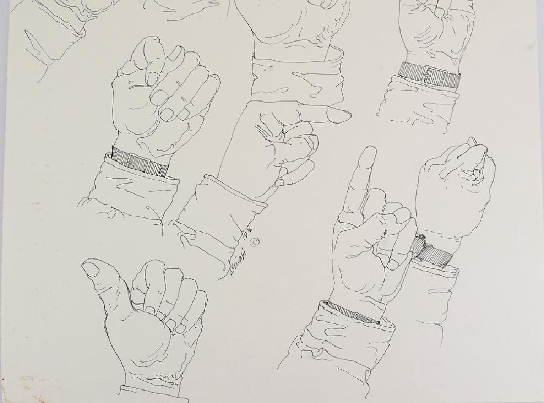 Signed SALVATORE GRIPPI INK STUDY OF HANDS 1976 New - 5