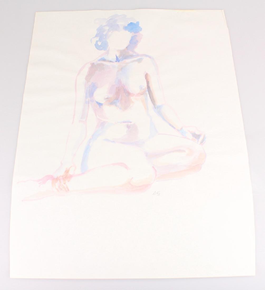 Artist Initialed Nude SALVATORE GRIPPI WATERCOLOR