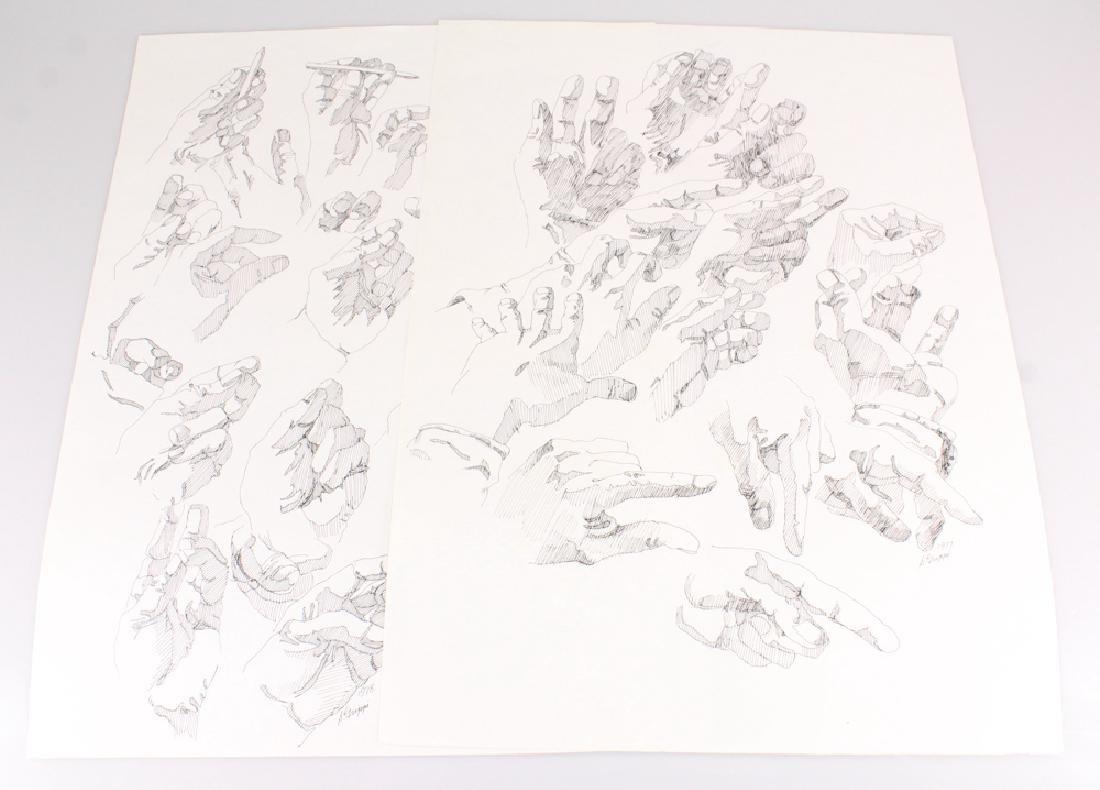 2pcs Artist Signed SALVATORE GRIPPI INK STUDIES OF