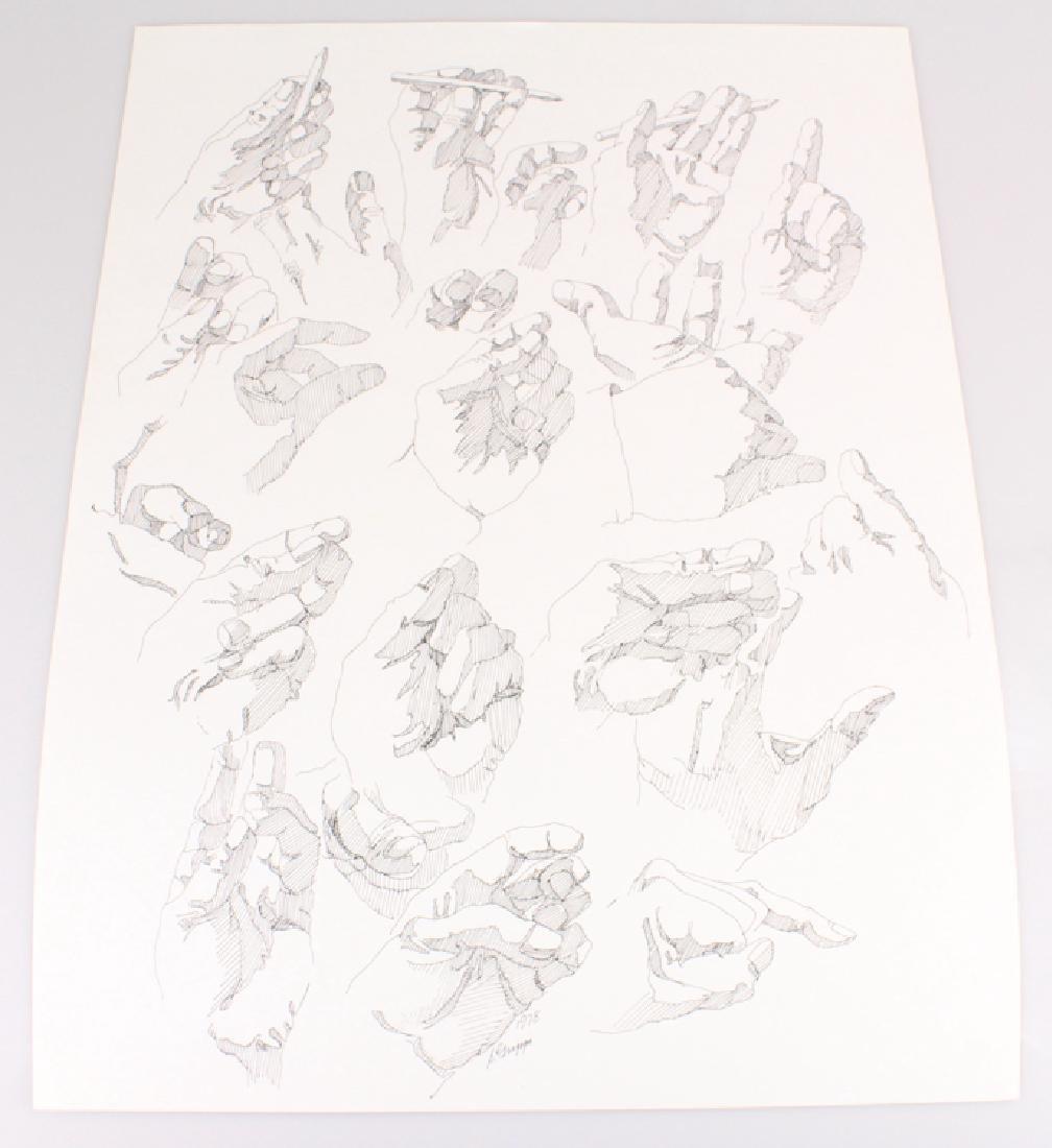 2pcs Artist Signed SALVATORE GRIPPI INK STUDIES OF - 2