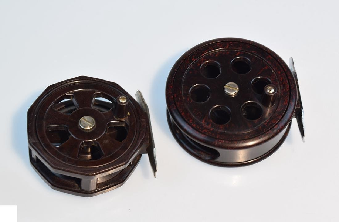 4 Pcs Bakelite Brass VINTAGE FLY FISHING REELS Circa - 2