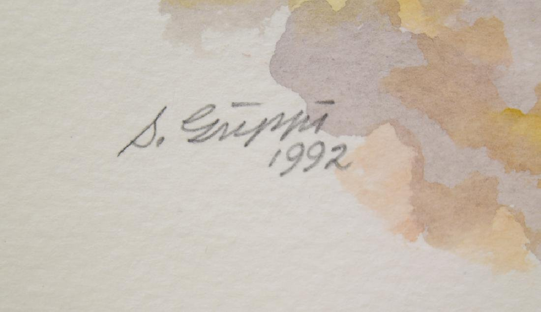 Artist Signed Framed SALVATORE GRIPPI WATERCOLOR - 5