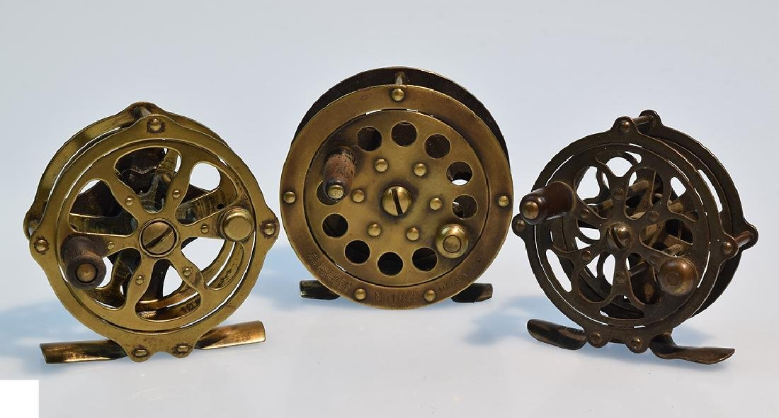 3 Pcs Fly Fishing ANTIQUE BRASS SKELETON FLY REELS