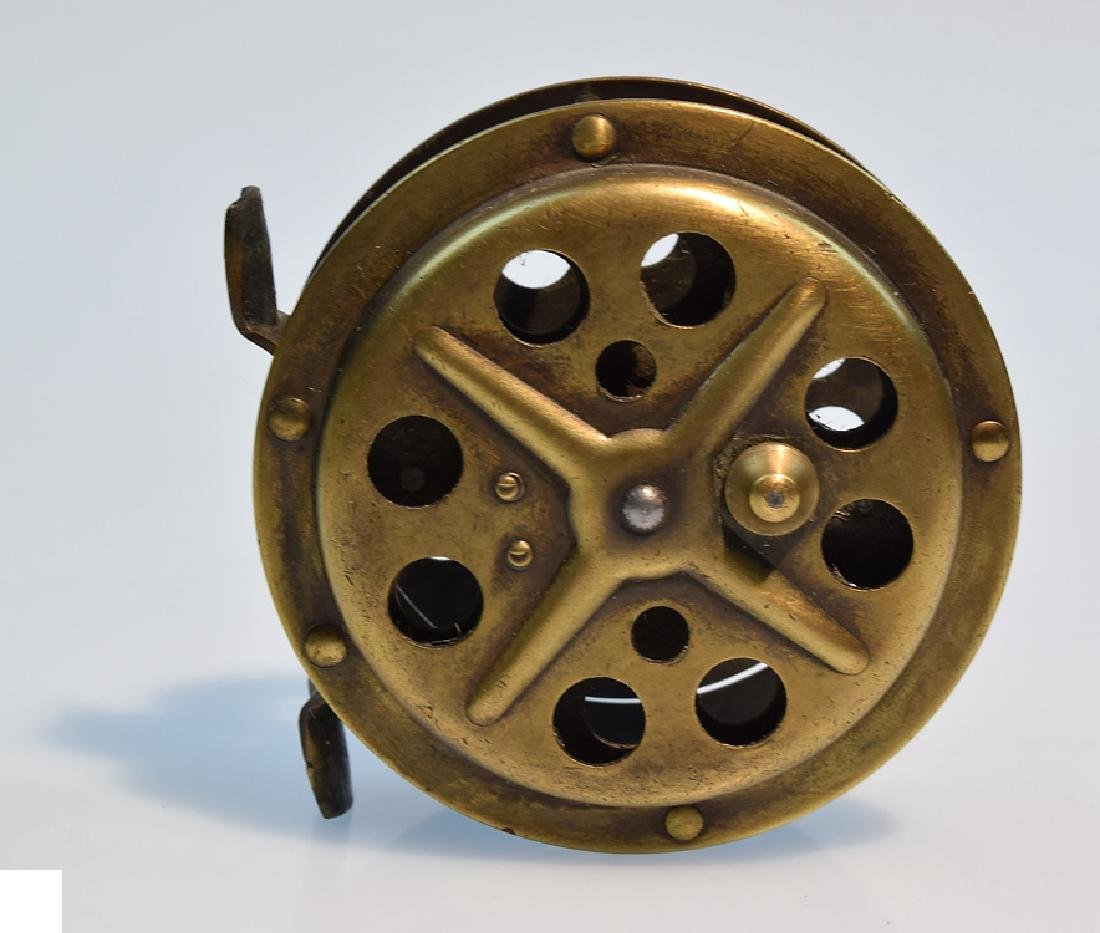 3 Pcs Fly Fishing ANTIQUE BRASS SKELETON FLY REELS - 9