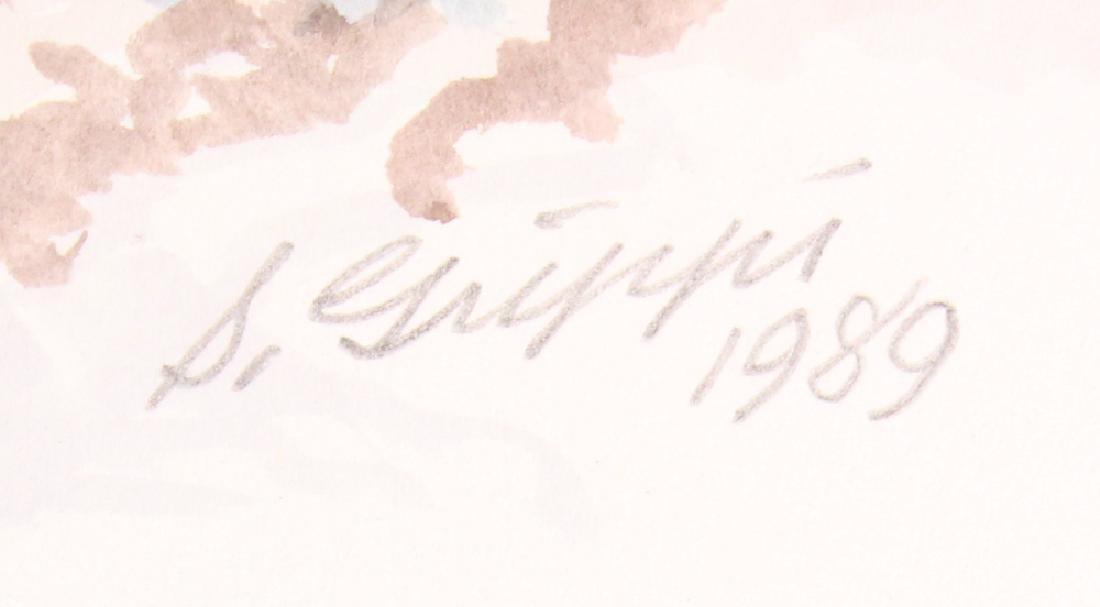 2pcs Artist Signed SALVATORE GRIPPI WATERCOLOR & PENCIL - 10