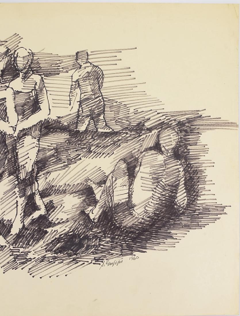Artist Signed SALVATORE GRIPPI BLACK MARKER ON PAPER - 5