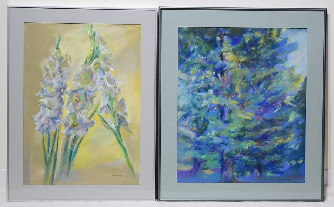 2pcs Pastel Still-Life ROSALIND GRIPPI DRAWINGS Framed