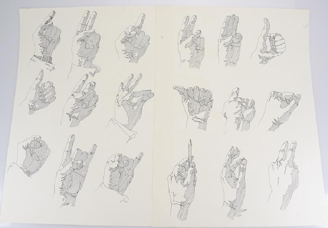 2pcs Signed SALVATORE GRIPPI INK STUDY OF HANDS 1976