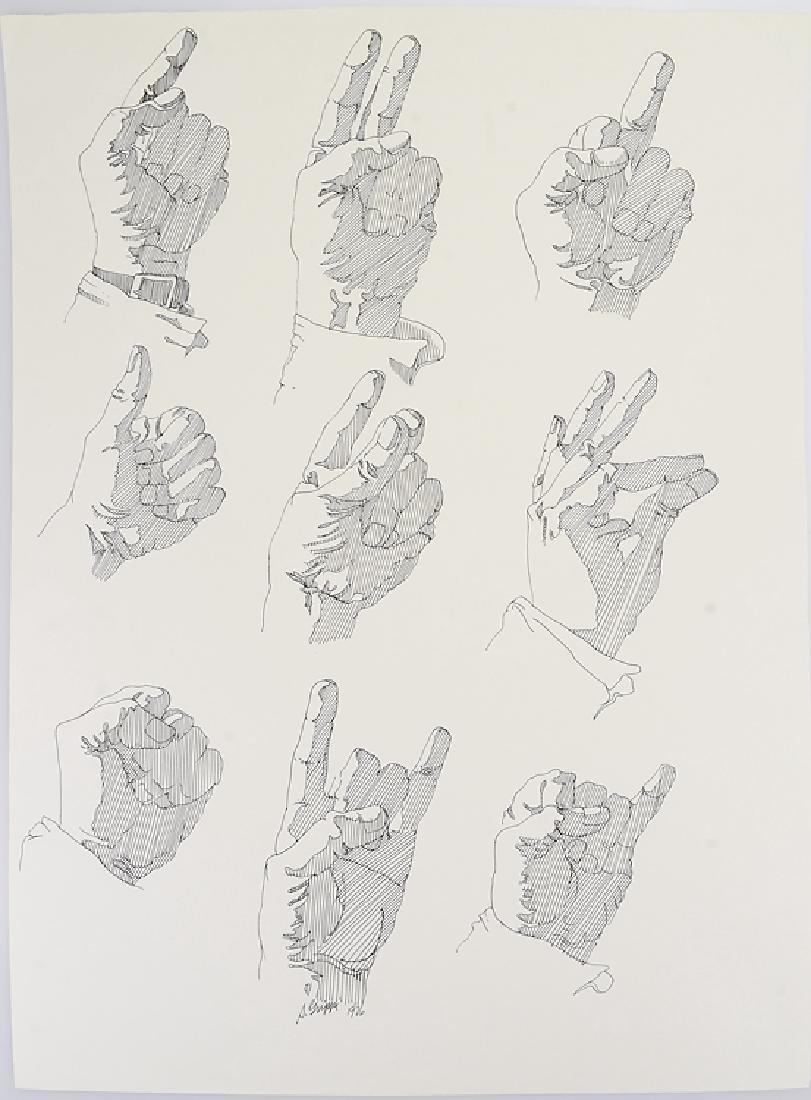 2pcs Signed SALVATORE GRIPPI INK STUDY OF HANDS 1976 - 2